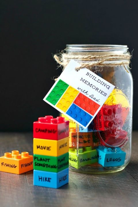 Father's Day Crafts Preschool - The Seasoned Mom Building Memories Lego Jar