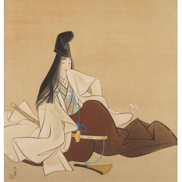 〈右〉婦女図屏風(部分)木島櫻谷 〈左〉静御前 上村松園