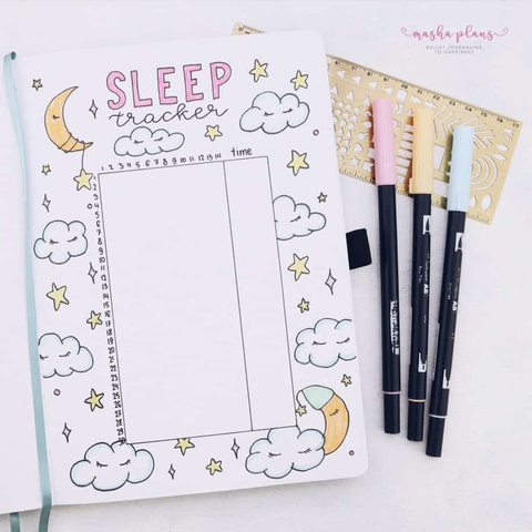 a bullet journal sleep tracker from masha plans
