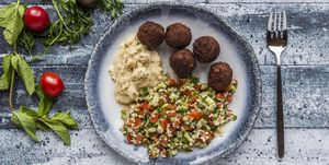 Bulgur wheat salad, Hummus and Falafel on plate