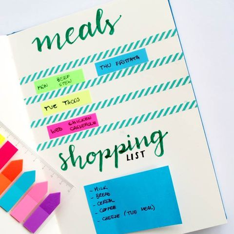 bullet journal ideas - meal planning
