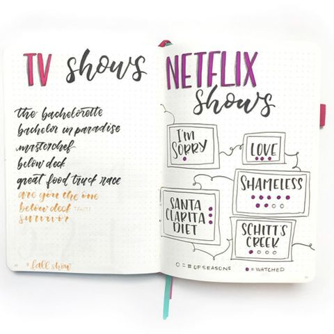 bullet journal ideas - TV show tracker