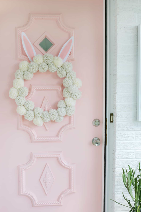 bunny pom pom wreath outdoor easter decorations