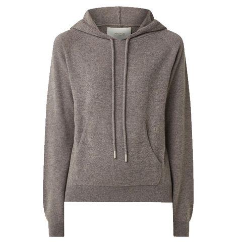 grijsbruine kasjmier hoodie met lange mouwen van maje