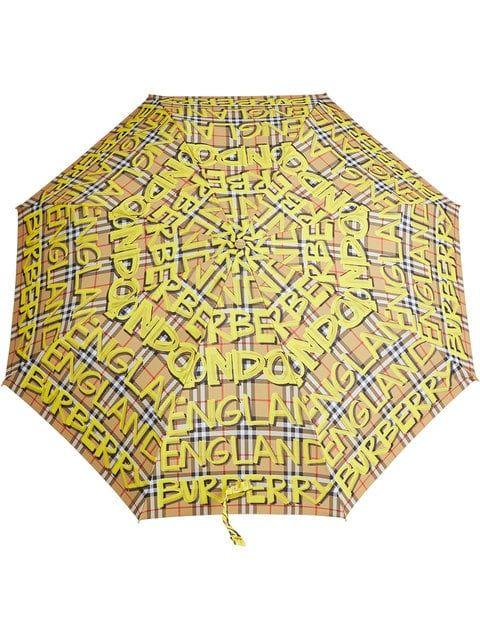 Umbrella, Yellow, Pattern, Fashion accessory, Plaid, Pattern,