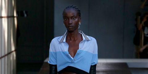 Fashion, Fashion show, Runway, Fashion model, Blue, Clothing, Fashion design, Shoulder, Human, Footwear,