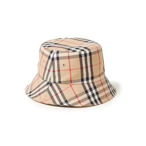 burberry vintage bucket hoed met ruitdessin
