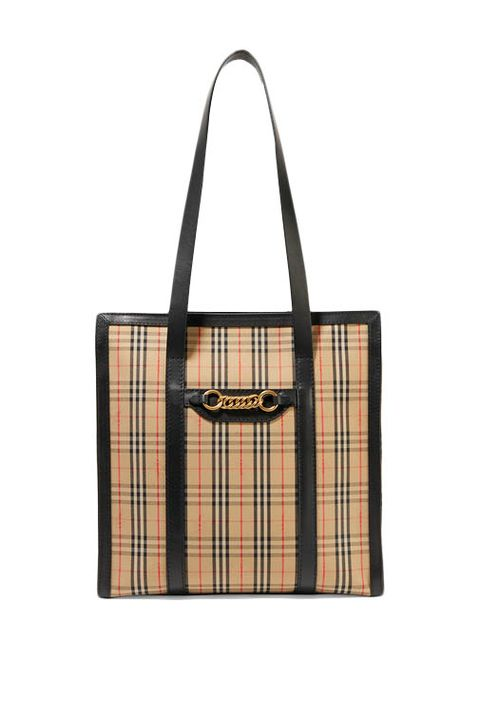 half price designer bags - burberry checked tote bag