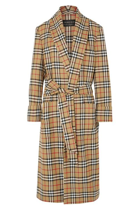 Clothing, Plaid, Pattern, Tartan, Day dress, Dress, Robe, Coat, Sleeve, Outerwear,