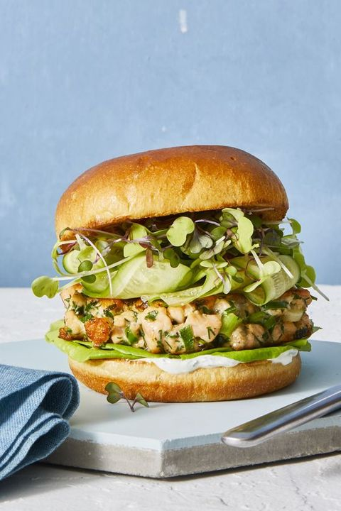 salmon burgers with spring vegetables