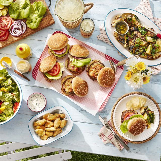 backyard burgers worcestershire glazed burgers, bistro cheese, fried pickles, buttermilk ranch dressing, tossed salad with a pureed green goddess dressing, grilled summer squash in a zesty lemon scallion dressing
