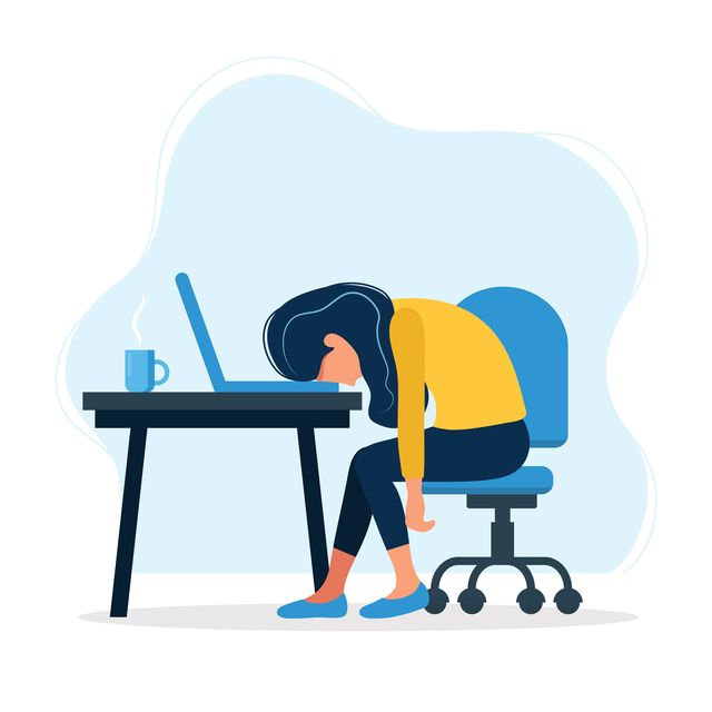 burnout concept illustration with exhausted female office worker sitting at the table frustrated worker, mental health problems vector illustration in flat style