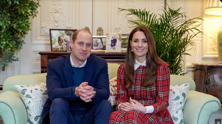The Duchess of Cambridge pairs pearls with tartan to thank frontline workers