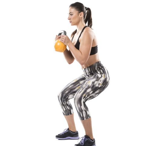 Burpee to squat press, pose 3 - Kettlebell exercise