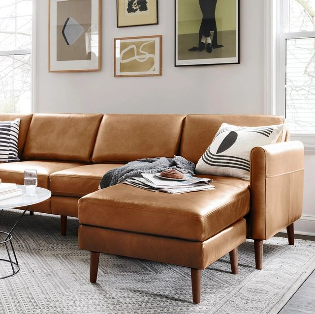 burrow leather sectional sofa in living room
