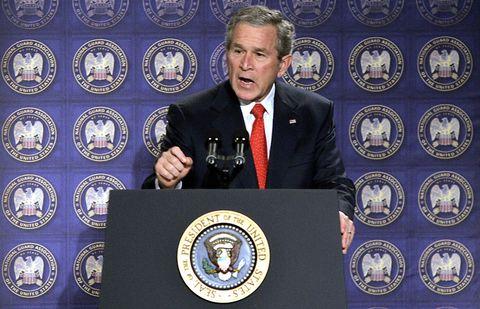 US President George W. Bush speaks about