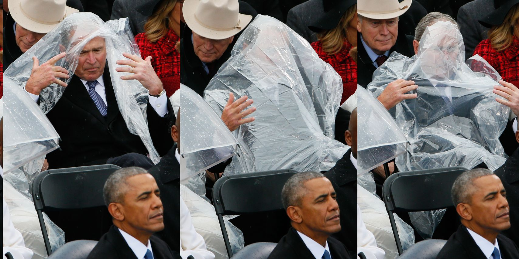 These Photos Of George Bush Struggling With A Rain Poncho Are Perhaps The Best Things To Come Out Of Inauguration Day