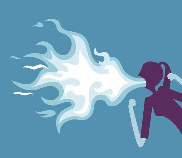 businesswoman spitting fire