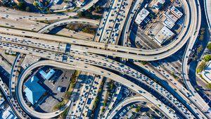 Busy Los Angeles Freeway Interchange Aerial
