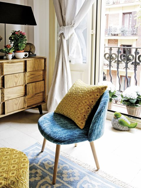 Furniture, Room, Living room, Interior design, Chair, Yellow, Table, Slipcover, Home, Floor,