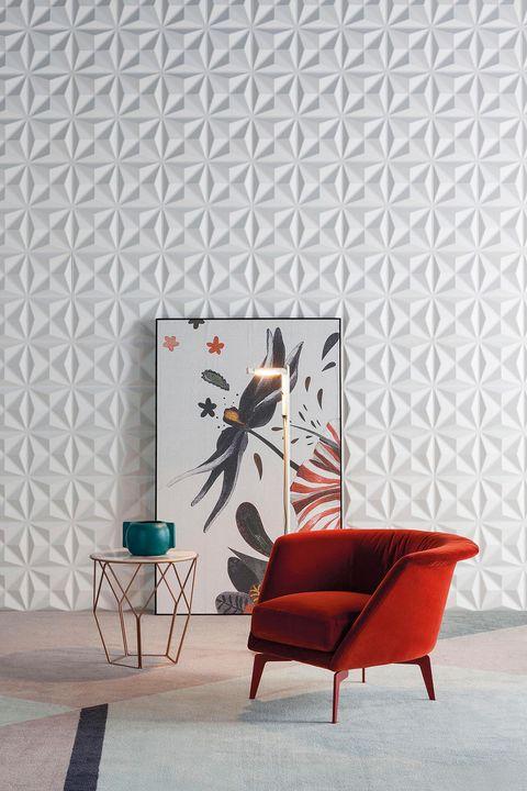 Wall, Wallpaper, Red, Interior design, Furniture, Tile, Room, Design, Chair, Living room,