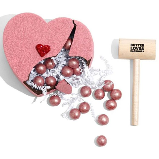 williams sonoma butter love  hardwork breakable pink chocolate heart valentine's day