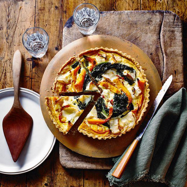 butternut, cavolo nero and goat's cheese tart