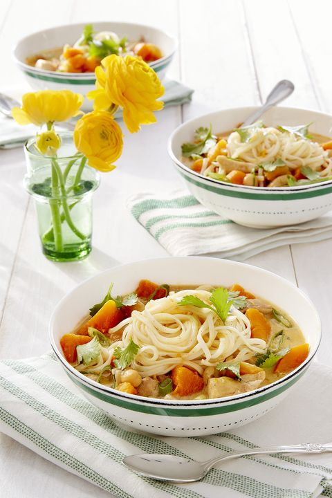 butternut squash-apricot chicken noodle curry
