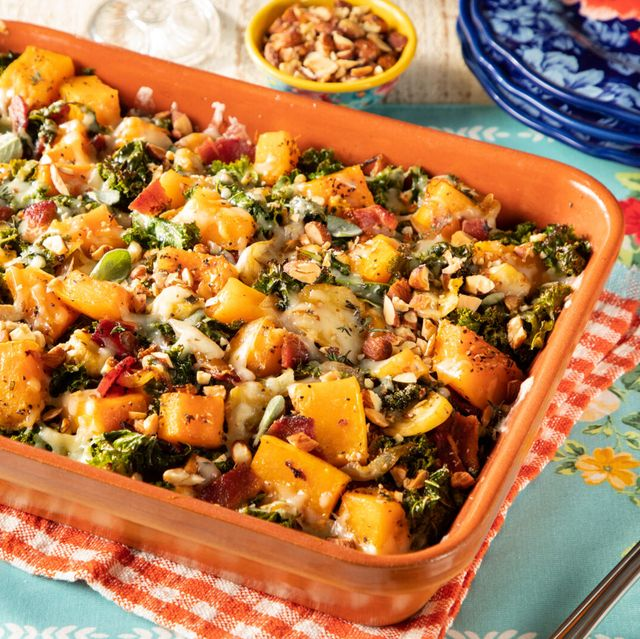 butternut squash casserole with caramelized onions, bacon, kale, gruyere cheese and chopped, smoked almonds