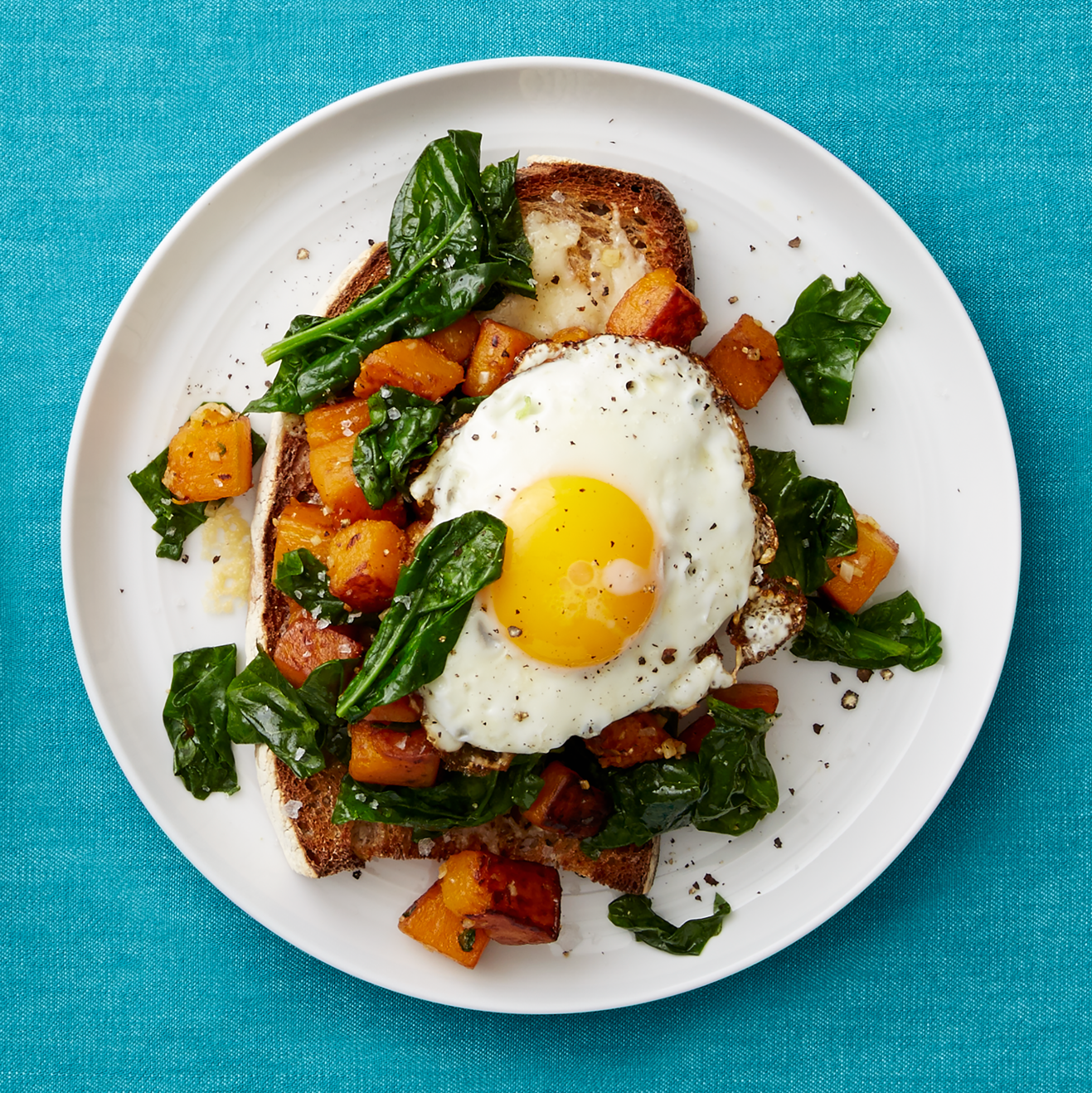 Butternut Squash & Spinach Toasts
