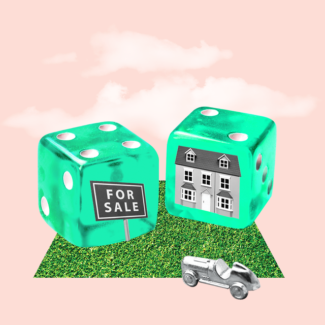 two dice with a home and for sale sign imprinted on them