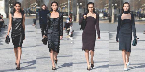 Fashion model, Fashion, Clothing, Shoulder, Dress, Little black dress, Street fashion, Footwear, Haute couture, Joint,