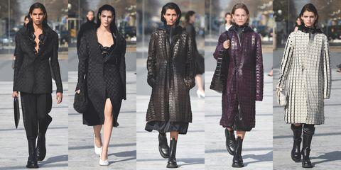 Fashion, Clothing, Street fashion, Fashion model, Overcoat, Coat, Outerwear, Footwear, Fur, Fashion show,