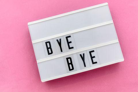 bye bye message in light box