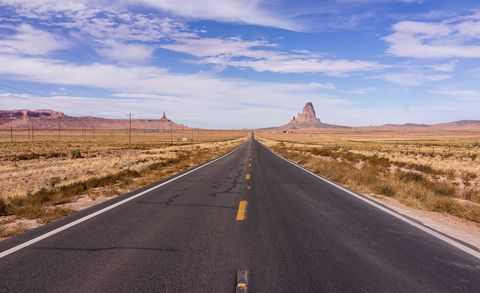 Road, Highway, Asphalt, Road trip, Sky, Natural landscape, Thoroughfare, Infrastructure, Road surface, Lane,