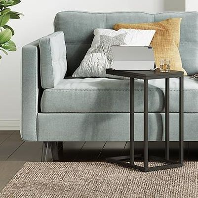 c shaped side table in living room