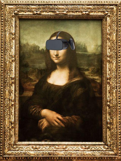 mona lisa wearing vr headset