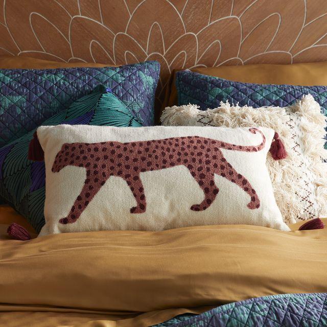drew barrymore leopard throw pillow
