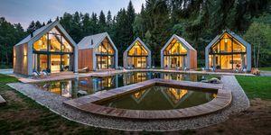 Cabañas con sauna y piscina en la entrada delParque Nacional de Karkonosze