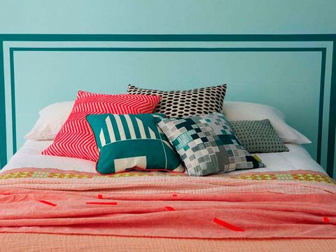 Bedroom, Bed sheet, Furniture, Bed, Bedding, Pillow, Room, Turquoise, Blue, Aqua,