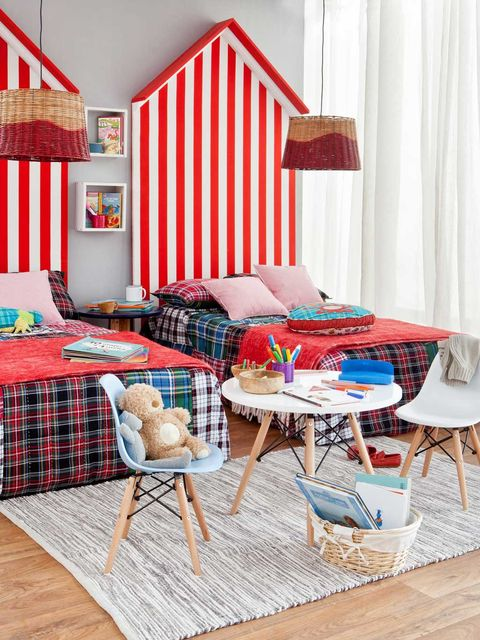 Furniture, Room, Living room, Interior design, Red, Property, Table, Home, Wall, Bedroom,