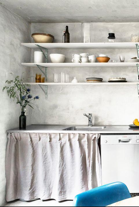 White, Shelf, Room, Furniture, Property, Interior design, Countertop, Kitchen, Cabinetry, Wall,