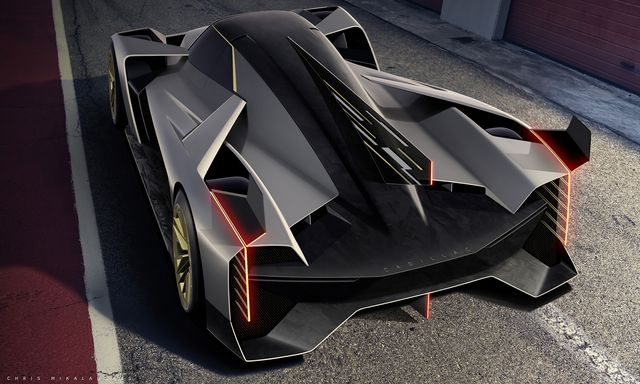 gm design sketch of a fourth generation cadillac prototype constructed to the new imsa and automobile club de l'ouest aco le mans daytona hybrid lmdh regulations this image does not represent the final product