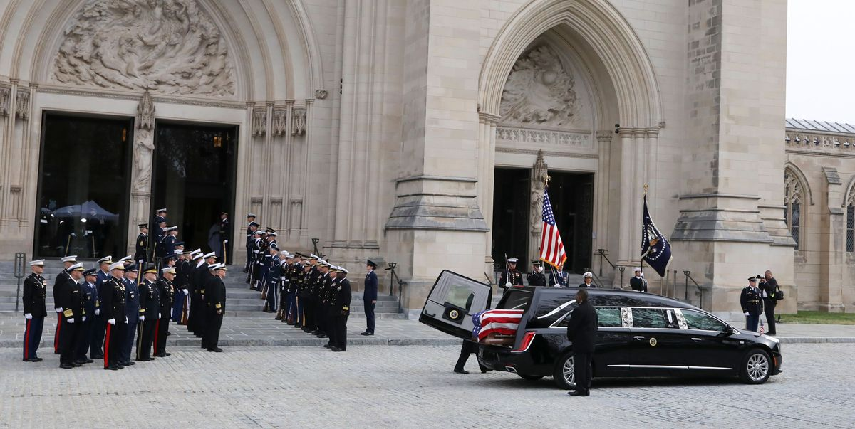 president george hw bush funeral procession features cadillac hearse