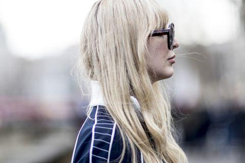 Eyewear, Hair, White, Sunglasses, Blond, Street fashion, Glasses, Hairstyle, Lip, Beauty,