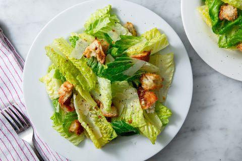 Dish, Food, Salad, Caesar salad, Cuisine, Ingredient, Vegetable, Romaine lettuce, Lettuce, Leaf vegetable,