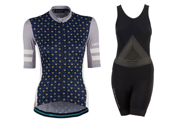 Café du Cycliste Women's Dolores Navy Jersey and Women's Ginette Bibs