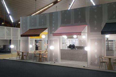 Café Gyproc by Julien Renault and Paul Vaugoyeau, for Biennale Interieur 2018, Kortrijk, Belgium