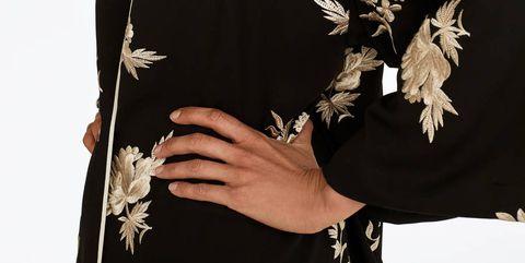 Sleeve, Fashion, Neck, Bird, Feather, Day dress, Fashion model, Makeover, Wrap, Fashion design,