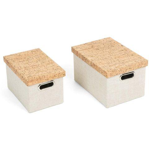 Cajas forradas de tela para guardar cables
